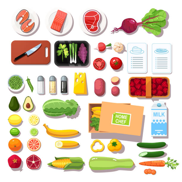 ilustrações de stock, clip art, desenhos animados e ícones de meal kit delivery groceries set with recipe booklets. meat, fish, vegetables, fruits, spices top view. flat isolated vector - meat plate
