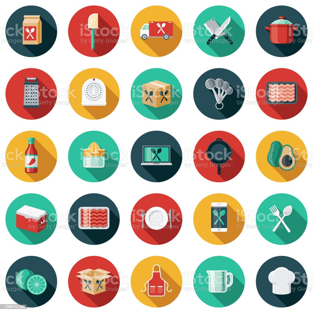 Meal Kit Delivery Icon Set A flat design/thin line icon on a colored background. Color swatches are global so it's easy to edit and change the colors. File is built in CMYK for optimal printing and the background is on a separate layer. Apron stock vector