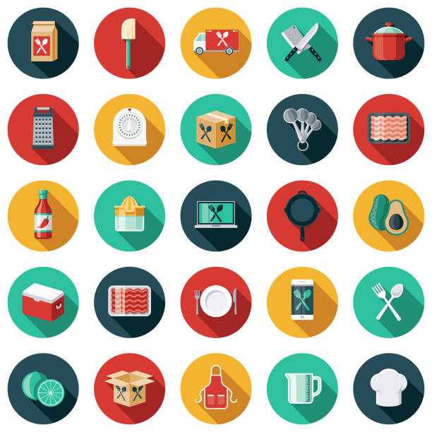 Meal Kit Delivery Icon Set A flat design/thin line icon on a colored background. Color swatches are global so it's easy to edit and change the colors. File is built in CMYK for optimal printing and the background is on a separate layer. cooking icons stock illustrations