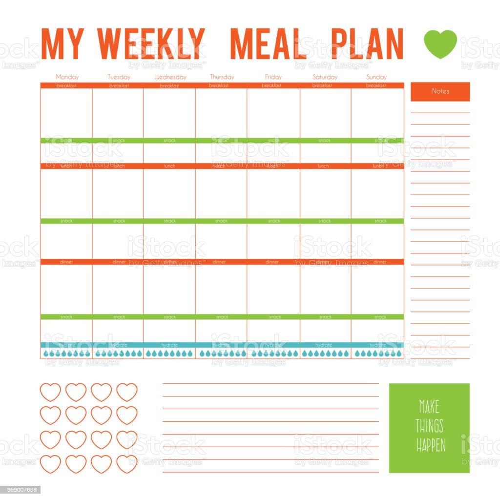 Plano de refeições durante uma semana, a página de calendário. Vector printable caixas, metade, em cores planas para planejadores, para imprimir para fazer páginas para planejador de vida. Página de plano de dieta - ilustração de arte em vetor
