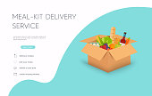 istock Meal-kit delivery service. Online ordering of food, grocery delivery, e-commerce. Flat design modern vector illustration concept. 1217185490