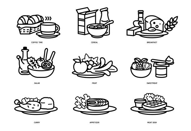 illustrazioni stock, clip art, cartoni animati e icone di tendenza di meals of people who should eat in a day line flat icon concept. ideas for creating a nutritional description for daily food and consumer research. - piatto stoviglie