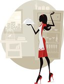 Illustration of a young woman in the kitchen. Woman silhouette and background are grouped and layered separately. JPG file in a high resolution also available.