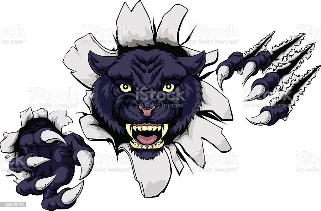 Mean Black Panther Mascot vector art illustration