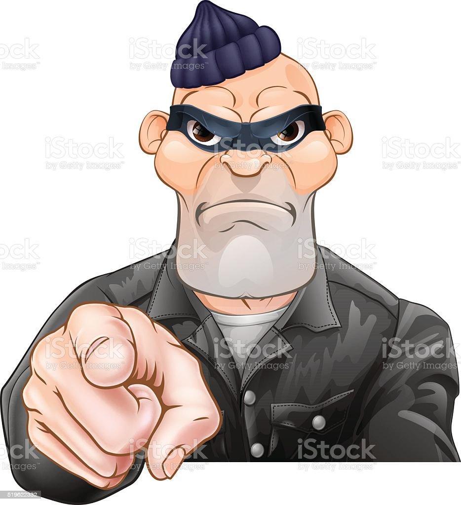 Mean Burglar Thief Pointing vector art illustration