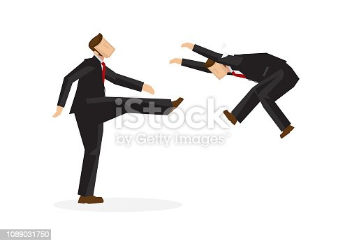 A mean businessman kicks another businessman away. Concept of attacking competitors or firing of employee in an aggressive way. Isolated vector illusration.