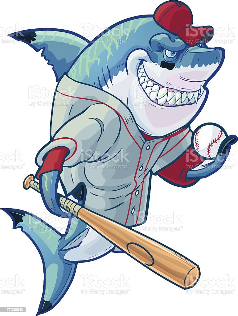 mean cartoon baseball shark with bat and ball stock vector art