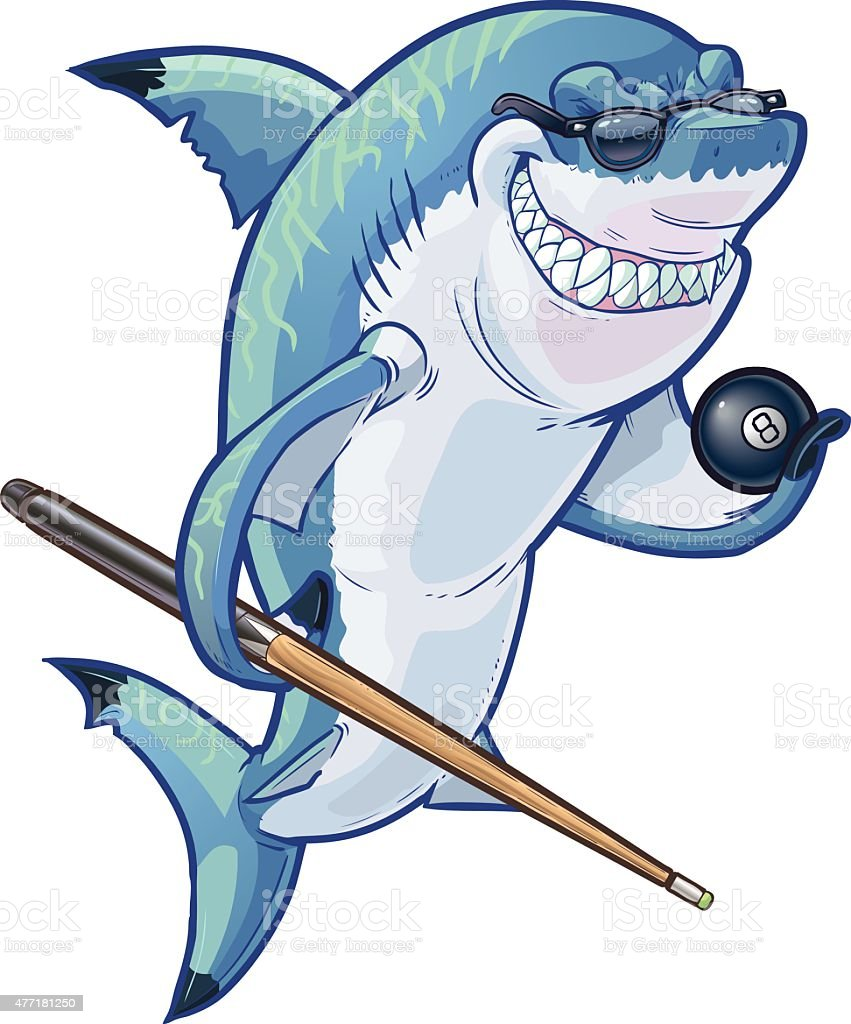 Mean Cartoon Pool Shark with Cue and Eight Ball vector art illustration