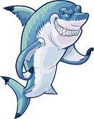 Mean Gesturing Shark Mascot Vector Cartoon Clip Art Illustration