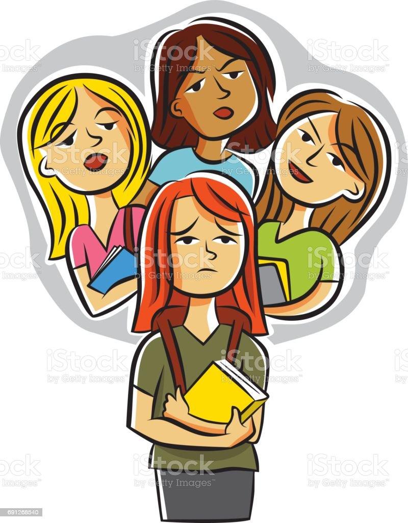 Mean Girls Gossiping vector art illustration