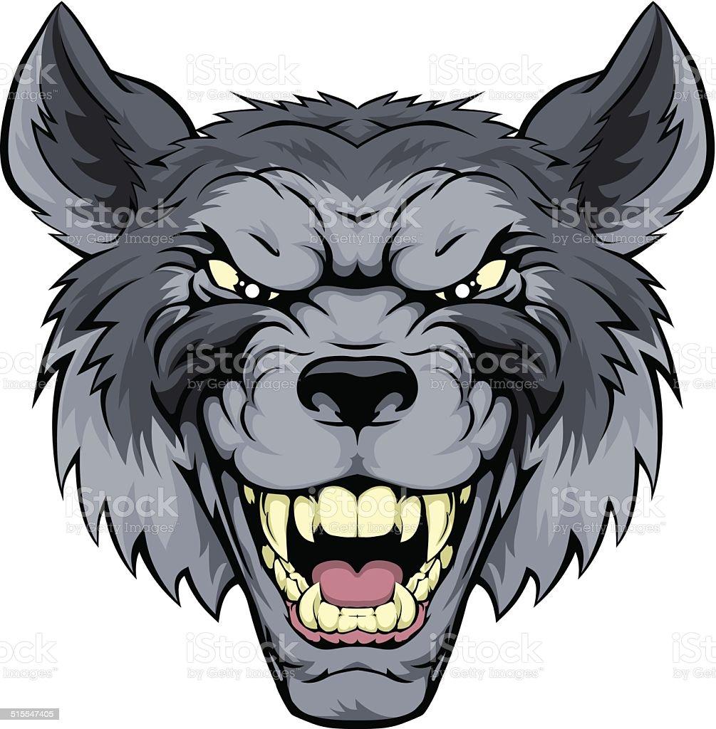 Mean Wolf Mascot vector art illustration