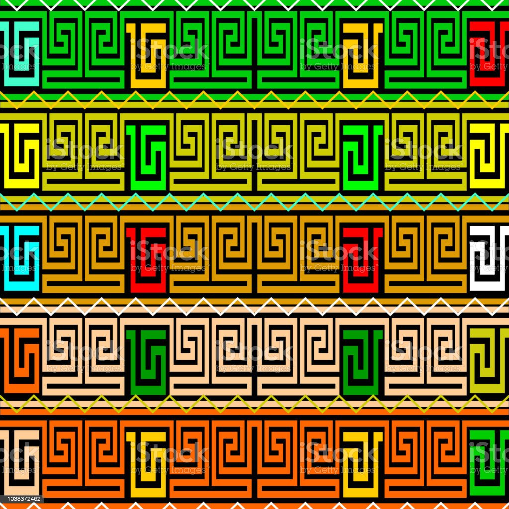 Meanders Greek Key Borders Vector Seamless Patterm Colorful