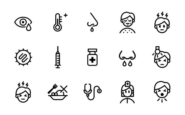Measles Symptoms, Causes, Transmission and Treatment Icon Set Icon set representing measles symptoms, causes, transmission and treatment for health infographic, website or publications fever stock illustrations