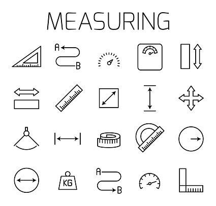 Measuirng related vector icon set. Well-crafted sign in thin line style with editable stroke. Vector symbols isolated on a white background. Simple pictograms.