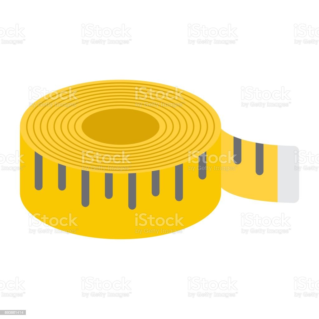 Measure tape flat icon, centimeter and size, fitness ruler sign vector graphics, a colorful solid pattern on a white background, eps 10. vector art illustration