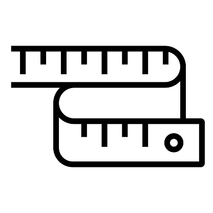Measure Tape Line Icon, Outline Symbol Vector Illustration