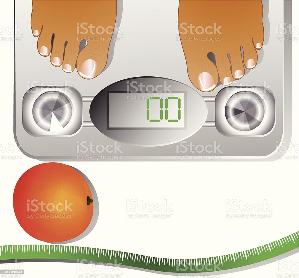 measure tape, orange and human scales royalty-free stock vector art