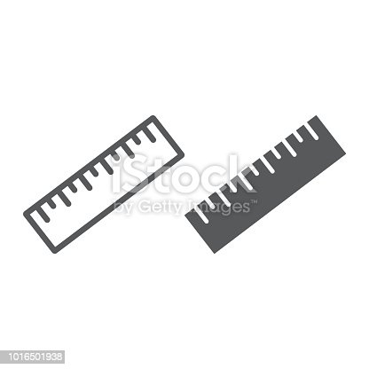 Measure tool line and glyph icon, tools and design, ruler sign, vector graphics, a linear pattern on a white background, eps 10.