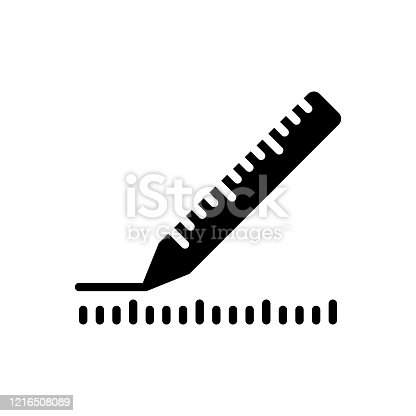 Icon for measurement, distance, calculation, ruler, yardage, scale, dimension, inch, centimeter, straightedge