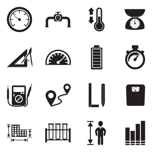 Measurement Icons. Black Flat Design. Vector Illustration. Measure, Equipment, Unit high up stock illustrations