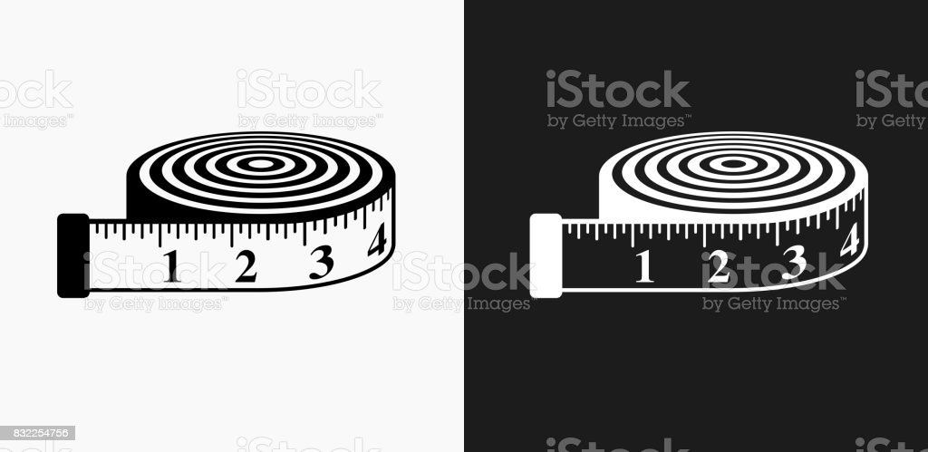 Measurement Tape Icon on Black and White Vector Backgrounds vector art illustration