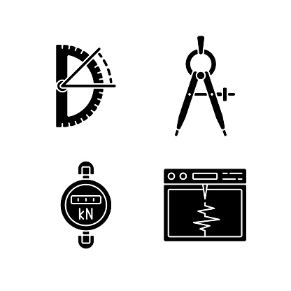 Measurement tools black glyph icons set on white space