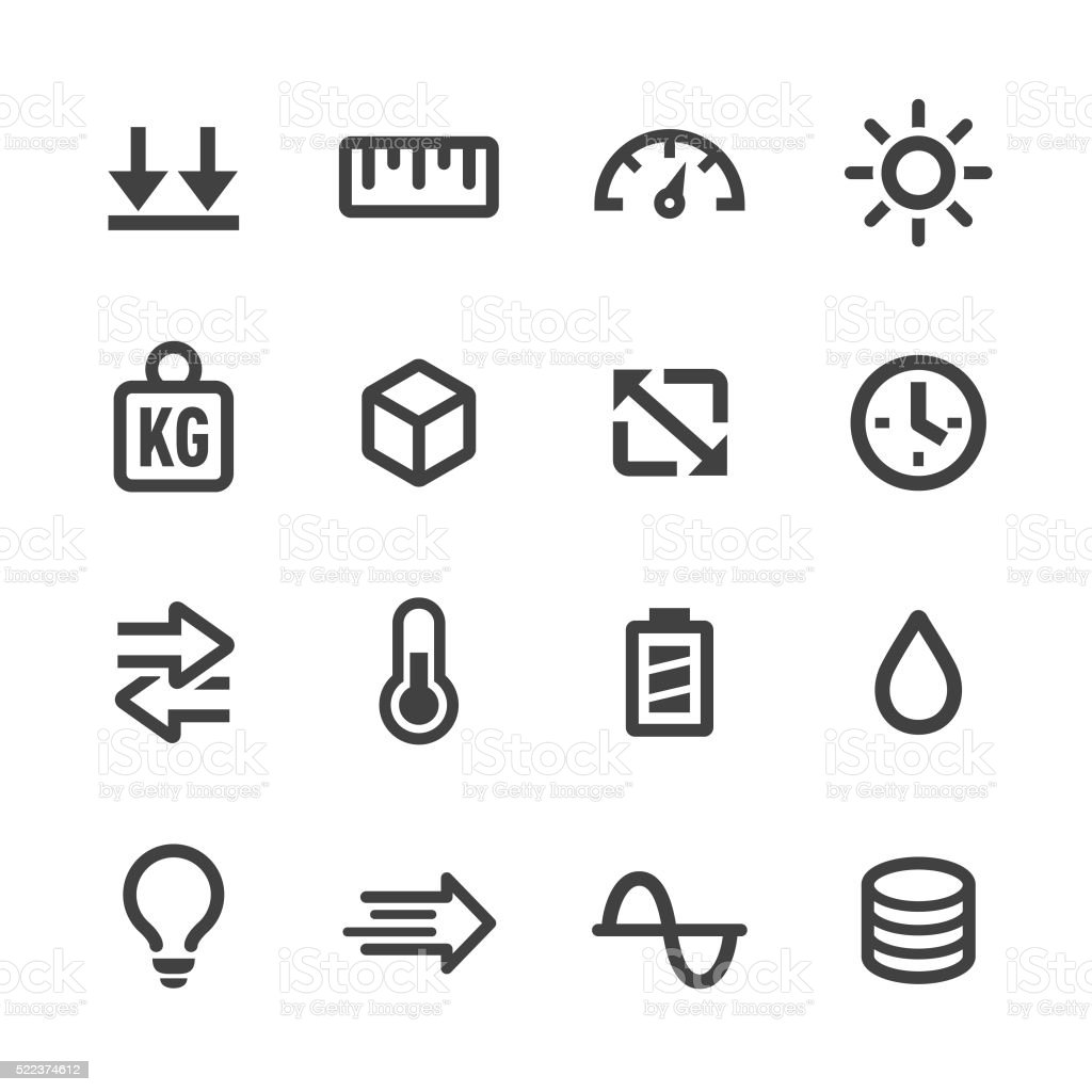 Measurement Units Icons Set - Acme Seriesa vector art illustration