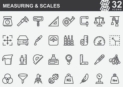Measuring and Scales Line Icons