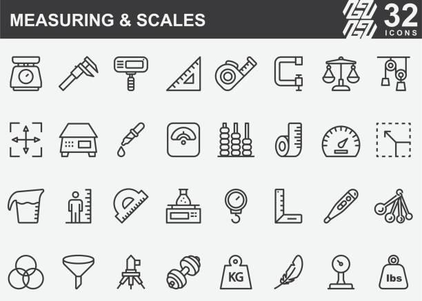 stockillustraties, clipart, cartoons en iconen met lijnpictogrammen meten en schalen - lang lengte