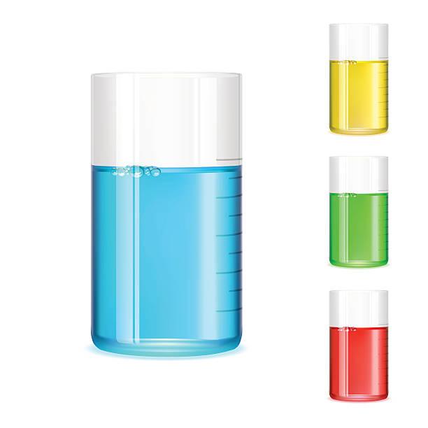 Measuring Beaker Vector illustration beaker filled with liquid. measuring cup stock illustrations