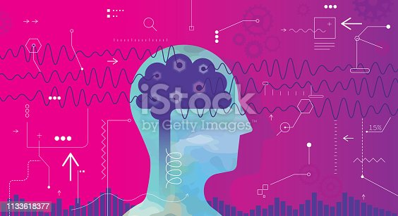 Bold vector illustration showing brain waves and a measurement concept. Head is made from a part of acrylic painting