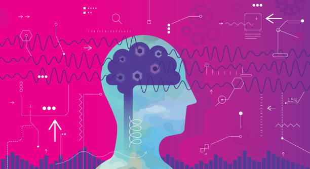 Measuring Brain Waves vector art illustration