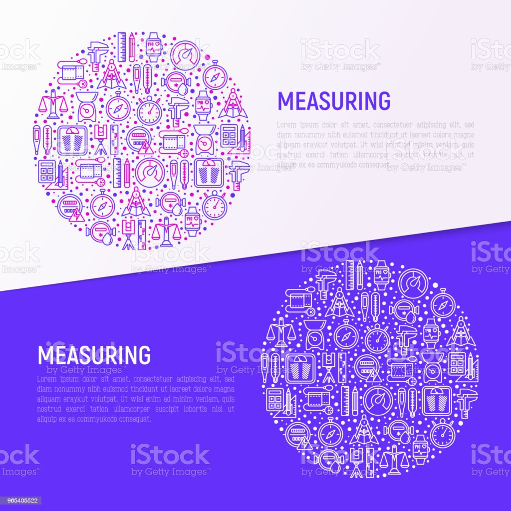 Measuring concept in circle with thin line icons: stopwatch, weight scales, speedometer, smart watch, brass scales, thermometer. Modern vector illustration for web page, banner, print media. measuring concept in circle with thin line icons stopwatch weight scales speedometer smart watch brass scales thermometer modern vector illustration for web page banner print media - stockowe grafiki wektorowe i więcej obrazów bez ludzi royalty-free