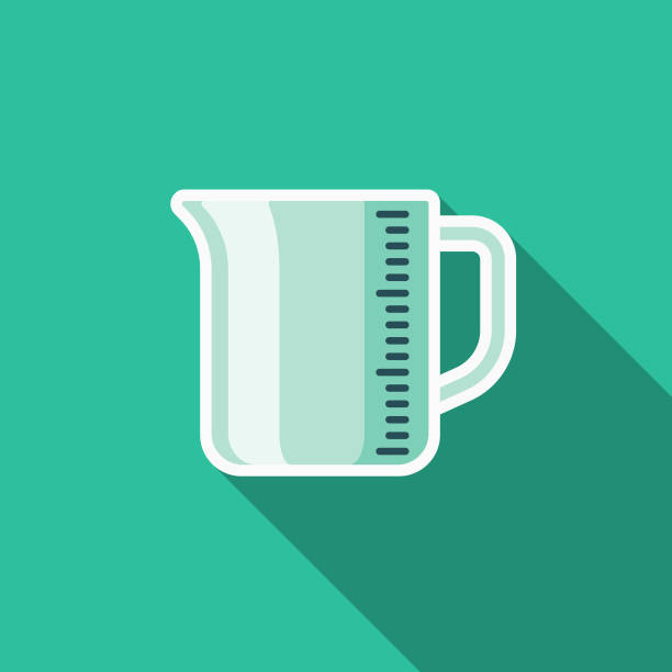 Measuring Cup Flat Design Kitchen Utensil Icon A colored flat design kitchen utensil icon with a long side shadow. Color swatches are global so it's easy to edit and change the colors. measuring cup stock illustrations