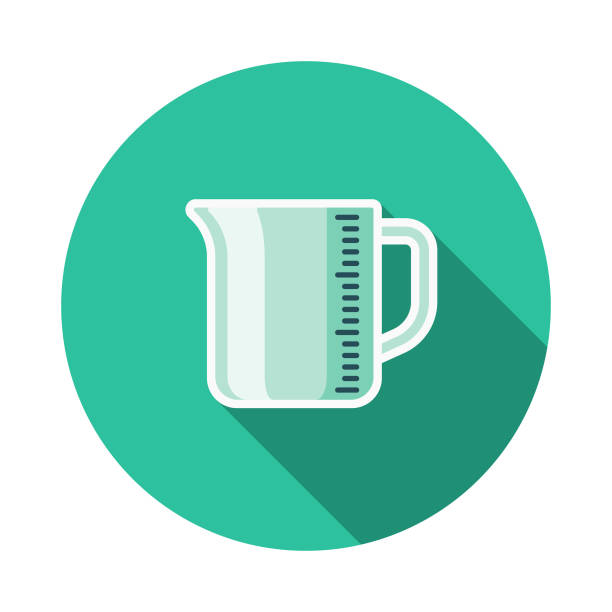 Measuring Cup Meal Kit Icon A flat design/thin line icon on a colored background. Color swatches are global so it's easy to edit and change the colors. File is built in CMYK for optimal printing and the background is on a separate layer. measuring cup stock illustrations