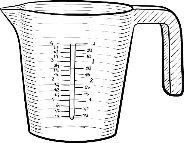 Measuring cup A line art illustration of a measuring cup measuring cup stock illustrations