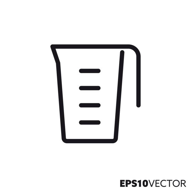 Measuring cup vector line icon Measuring cup line icon. Outline symbol of  cooking utensils and kitchen equipment. Beaker flat vector illustration. measuring cup stock illustrations