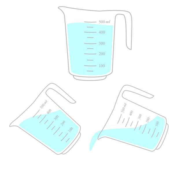 Measuring cup with liquid Measuring cup with liquid illustration measuring cup stock illustrations