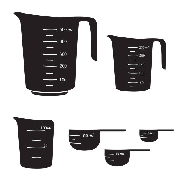 Measuring cups Measuring cups,small and big,from 30 to 500 ml. Vector measuring cup stock illustrations