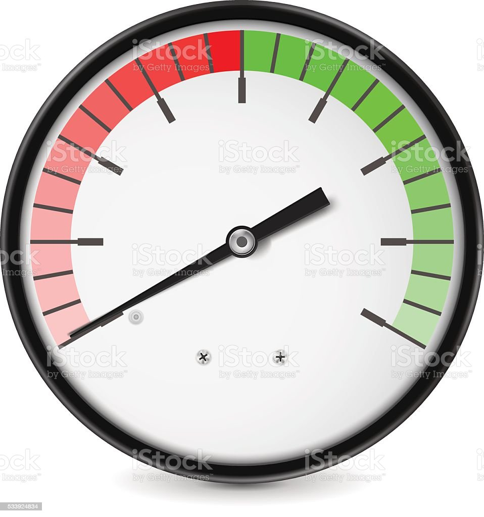Measuring dial. Green red semi-circle scale vector art illustration