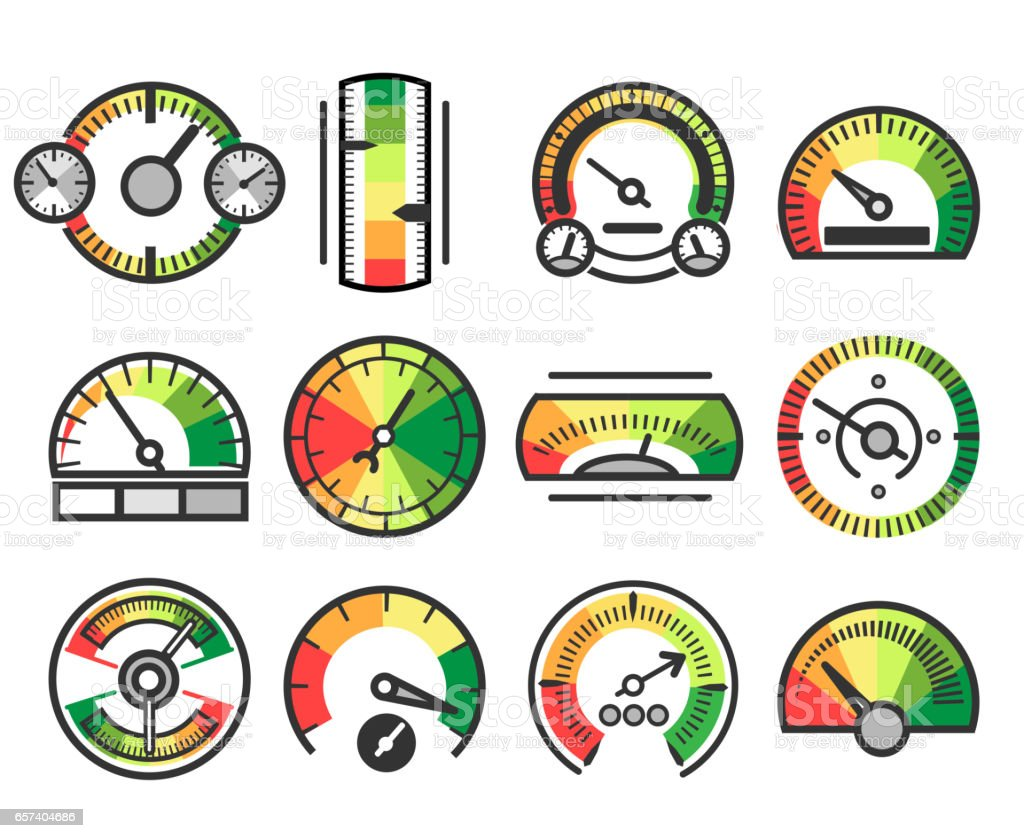 Measuring guage device vector icons. Measurement and measure, level indicator meter signs vector art illustration