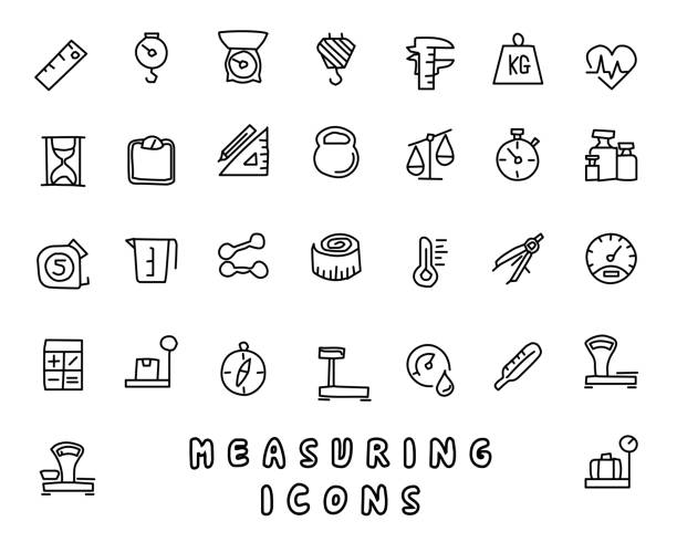 measuring hand drawn icon design illustration, line style icon, designed for app and web measuring hand drawn icon design illustration, line style icon, designed for app and web instrument of measurement stock illustrations