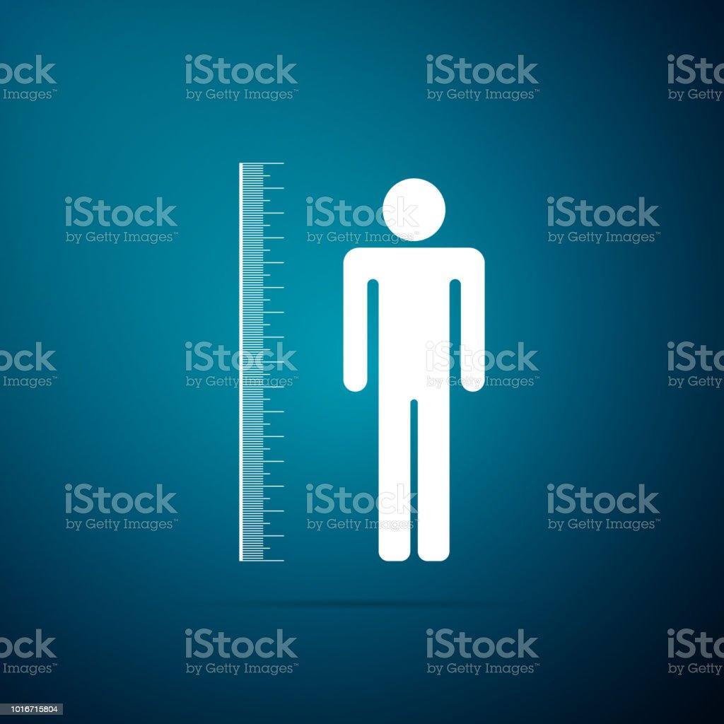 Het meten van hoogte lichaam pictogram geïsoleerd op blauwe achtergrond. Platte ontwerp. Vectorillustratie - Royalty-free Begrippen vectorkunst