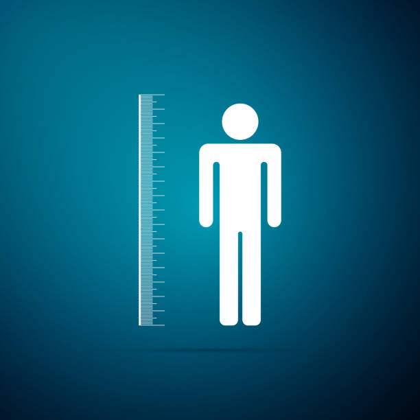 Measuring height body icon isolated on blue background. Flat design. Vector Illustration Measuring height body icon isolated on blue background. Flat design. Vector Illustration instrument of measurement stock illustrations