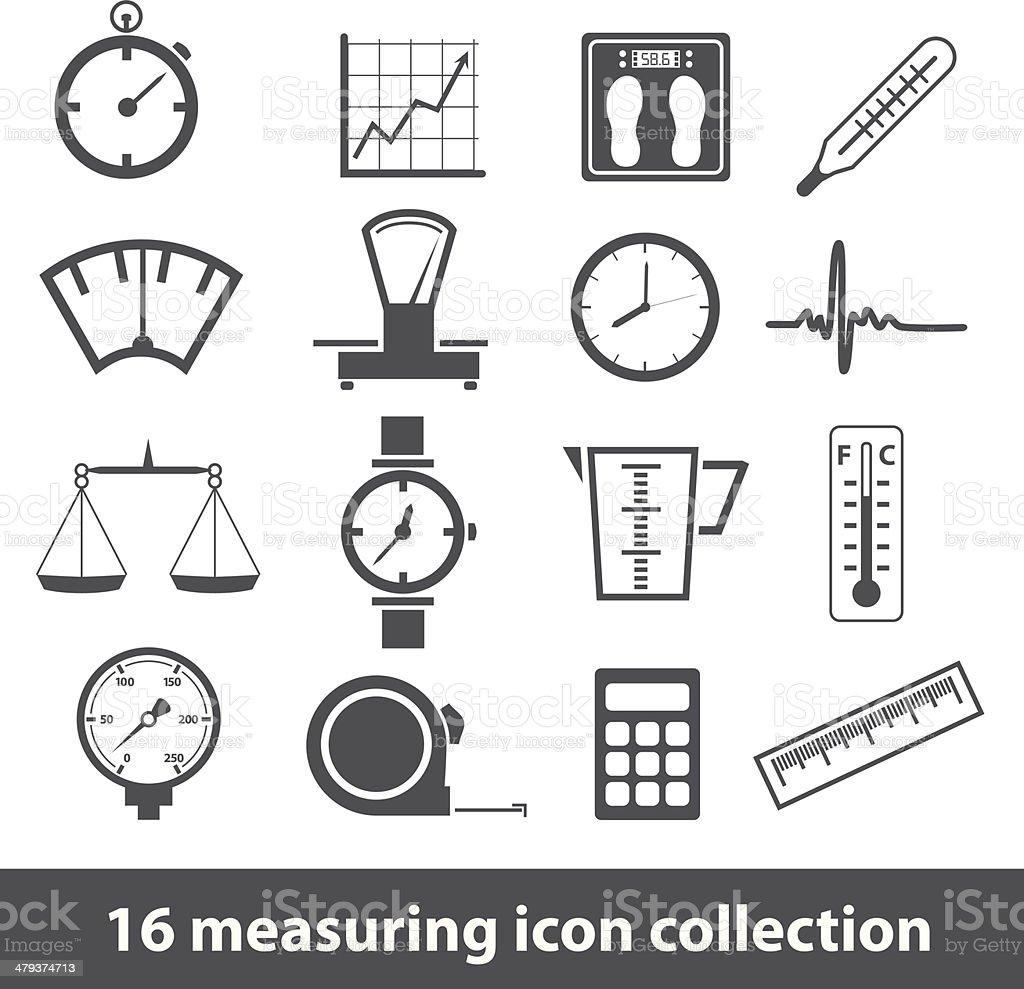 measuring icons vector art illustration
