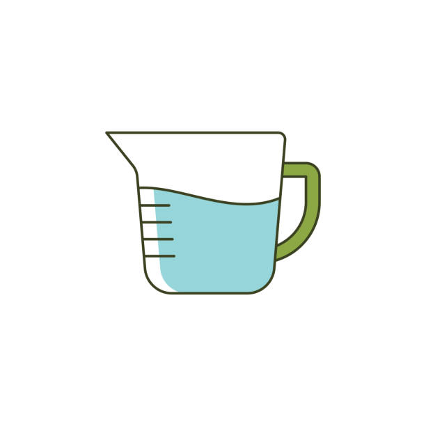 Measuring Jug, cup icon Canada, India, USA, Baking, Black And White measuring cup stock illustrations