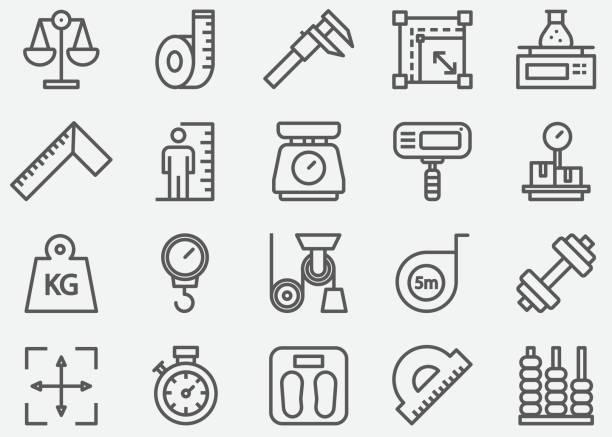 라인 아이콘 측정 - 측정 장치 stock illustrations