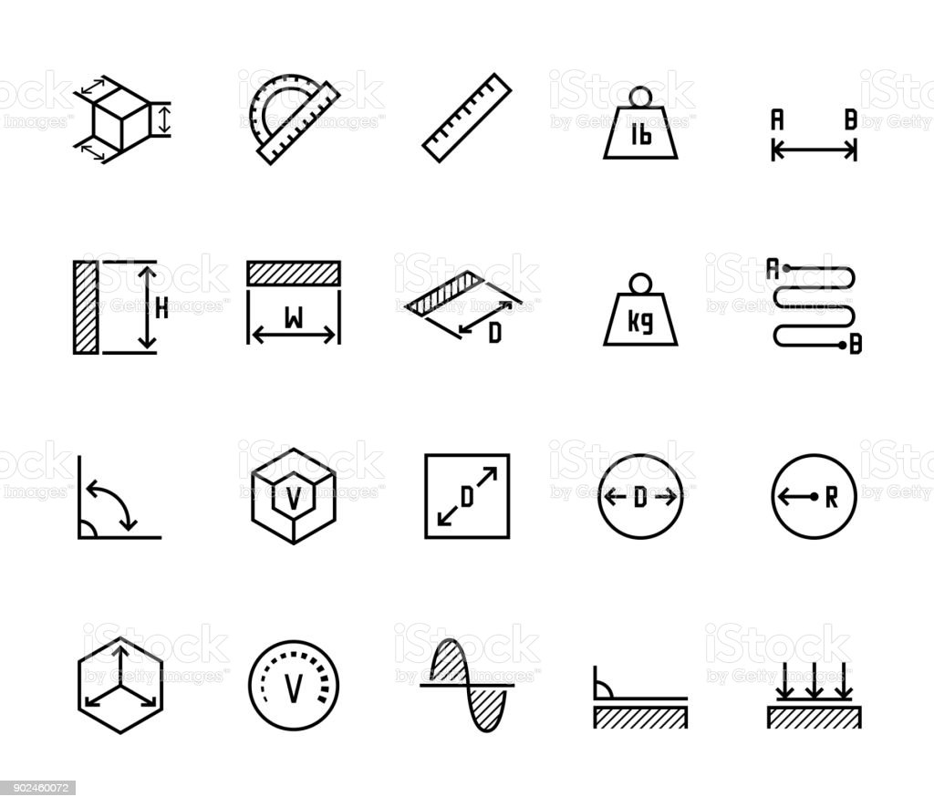 Measuring related vector icon set in thin line style vector art illustration