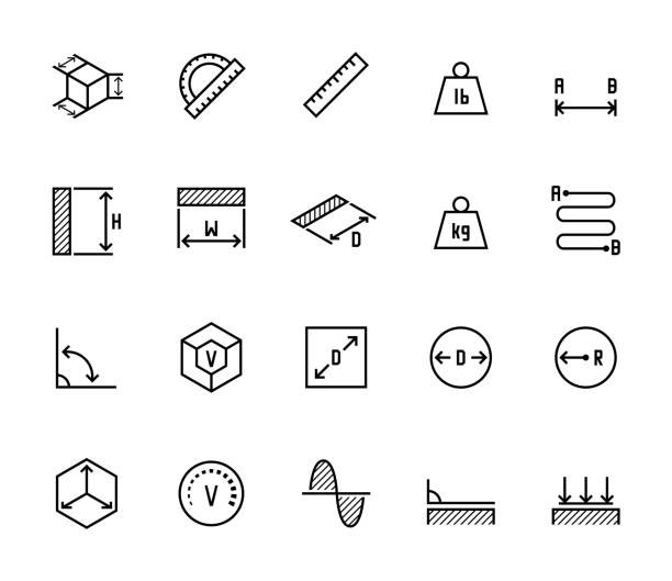 Measuring related vector icon set in thin line style Measuring related vector icon set in thin line style meter instrument of measurement stock illustrations