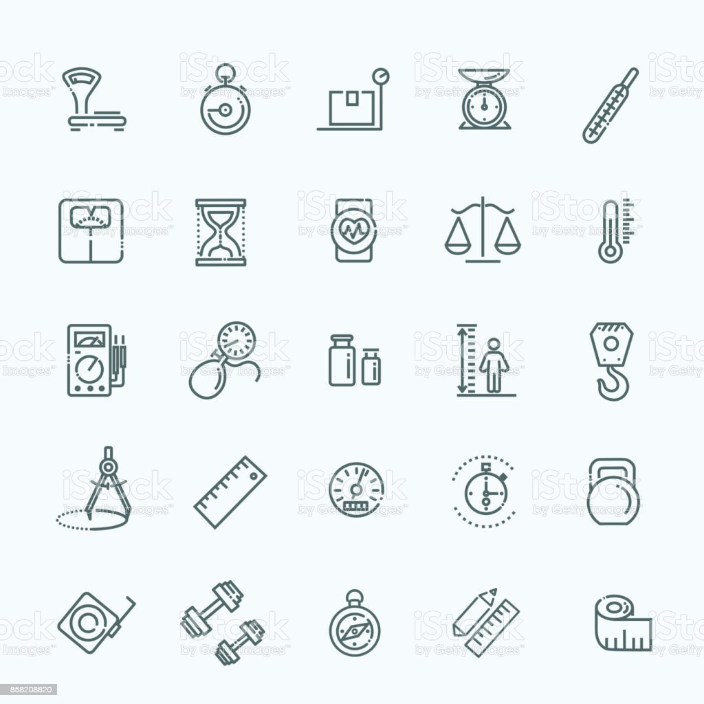 Measuring related web icon set - outline icon set, vector, thin line icons collection vector art illustration